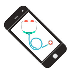 doctor online smartphone with stethoscope web vector image