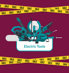 Electric construction tools sale background vector