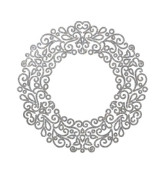 Elegant luxury retro silver floral round frame vector image