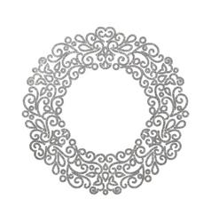 Elegant luxury retro silver floral round frame vector