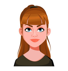 Face expression cute woman angry vector