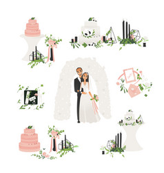flat bride and groom wedding ceremony icons vector image