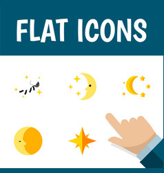 Flat icon bedtime set of asterisk lunar vector