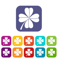 four leaf clover icons set vector image
