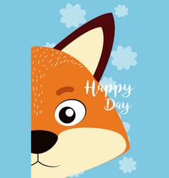 Fox cute animal cartoon card vector