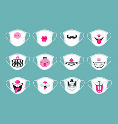 Funny medical mask set decorated with colorful vector