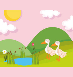 geese lake grass flower vegetation farm animal vector image