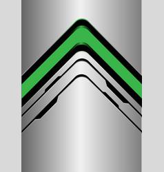 Green arrow direction on silver black line vector