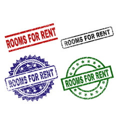 grunge textured rooms for rent seal stamps vector image
