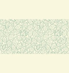 hand drawn leaves seamless background vintage vector image