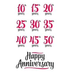 Happy anniversary sign collection vector