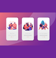 Happy family people mobile app page onboard vector