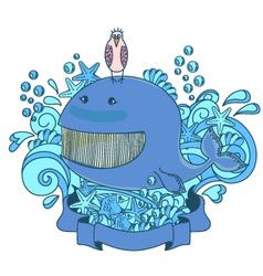 Happy sea creatures vector