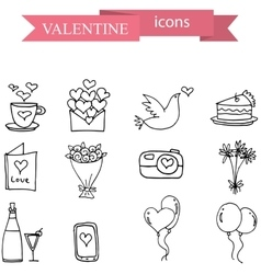 Icon of valentine object hand draw vector image