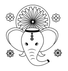 Indian elephant ganesha with ashoka chakra vector