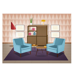 Interior of living room furnished in retro style vector