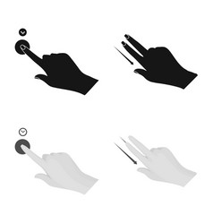 Isolated object of touchscreen and hand icon set vector