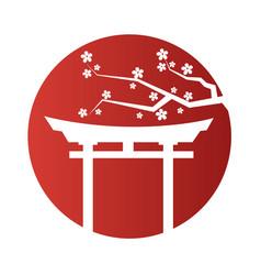 japanese gate sakura red circle frame background v vector image