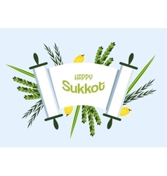 Jewish holiday Sukkot torah with Lulav Etrog vector image