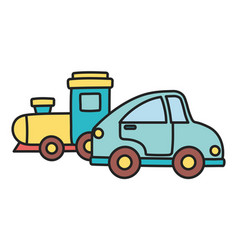 Kids toy blue car and train plastic objects vector