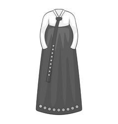 Korean dress icon gray monochrome style vector