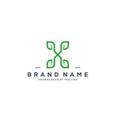 Leaf letter x logo design vector