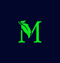 Letter m leaf nature eco green logo template vector