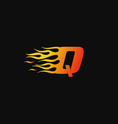 letter q burning flame logo design template vector image