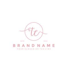 Letter te feminine logo design vector