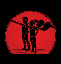 little boy and girl playing super heroes action vector image