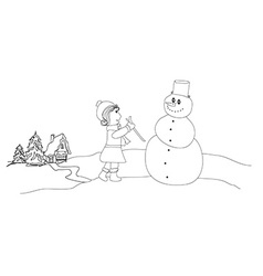 Little girl and snowman vector image