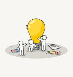 Little white people installing a lamp creative vector