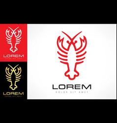 Lobster logo seafood design vector