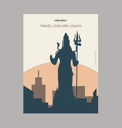 Lord shiva india vintage style landmark poster vector