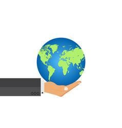 Man hand hold earth globe responsibility power vector