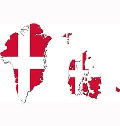 map denmark with greenland and faroe islands vector image