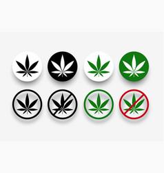 Marijuana banned symbols with leaf vector