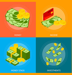 Money banner card set isometric view vector