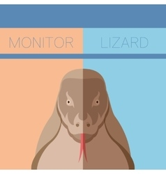 Monitor lizard flat postcard vector