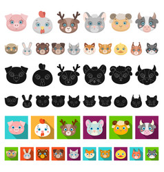 muzzles of animals cartoon icons in set collection vector image