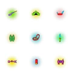 Nature tourism icons set pop-art style vector