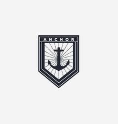 Nautical anchor ocean badge logo design vector
