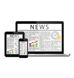 News articles on digital devices screens vector
