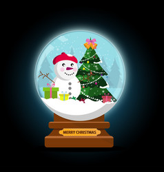 Night snow globe and christmas tree with balls vector