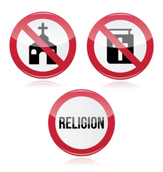 No religion no church no bible red warning sign vector image