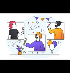online party concept vector image