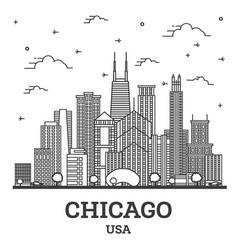 Outline chicago illinois usa city skyline vector