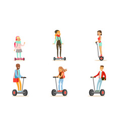 people riding self balancing scooters with two vector image