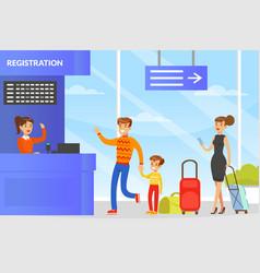 people standing in flight registration line at vector image