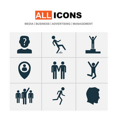 person icons set with success location winner vector image